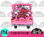 Pink XOXO Valentines Truck DIGITAL FILE-desser, Digital, Digital Design, Digital File, PNG, Sublimation, SVG, Transfer-Shop-Wholesale-Womens-Boutique-Custom-Graphic-Tees-Branding-Gifts