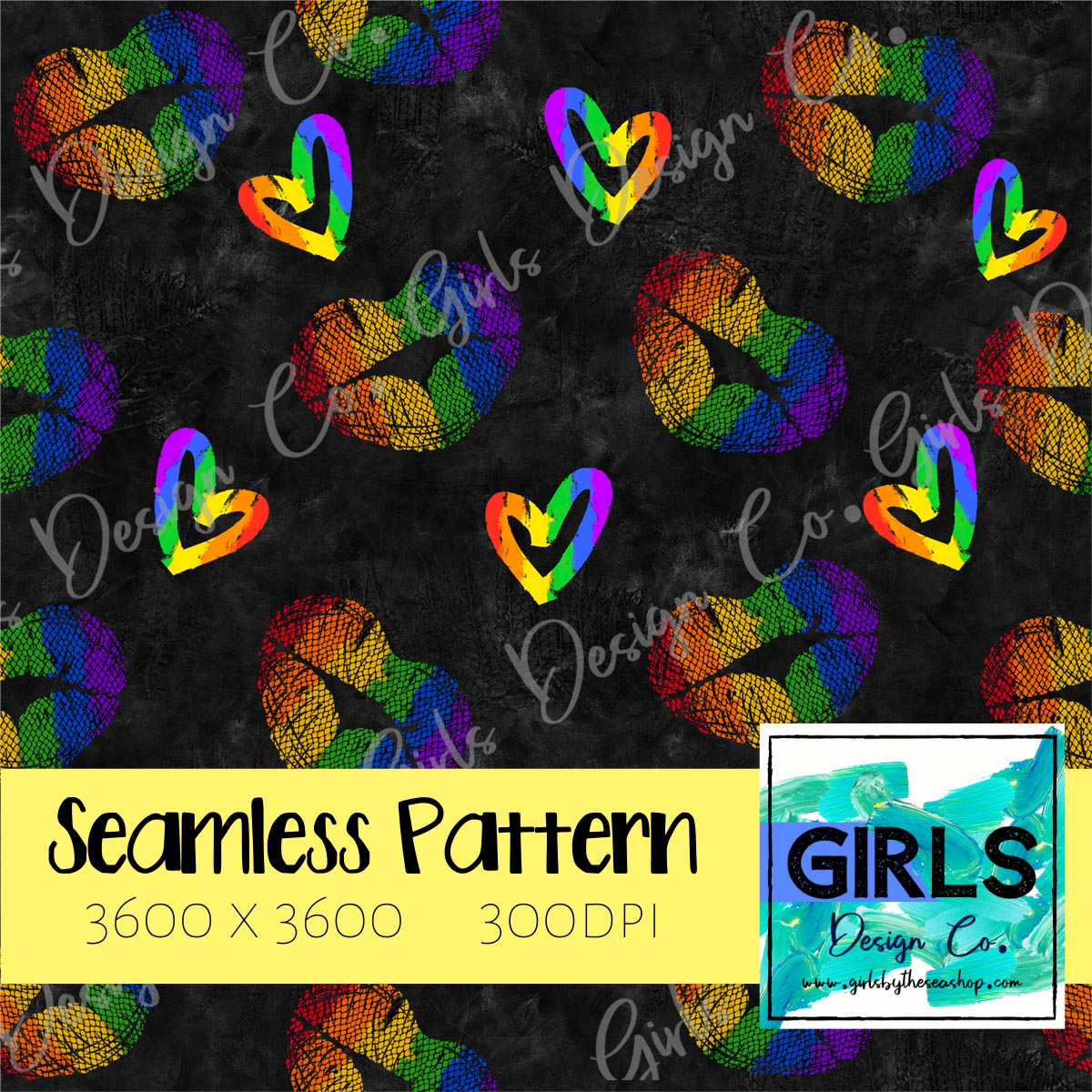 Pride Lips and Hearts Black Background SEAMLESS FILE-Digital, Digital Design, Digital File, Digital Paper, Fabric, Gay Pride, Hearts, Lips, Pride, Rainbow, Seamless, Seamlessdesign, Stripes, Sublimation, Summer-Shop-Wholesale-Womens-Boutique-Custom-Graphic-Tees-Branding-Gifts