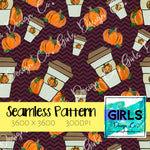 Pumpkin Spice Coffee on Maroon Chevron SEAMLESS FILE-Coffee, Digital, Digital Design, Digital File, Digital Paper, Fabric, Fall, Maroon Chevron, Pumpkin Spice, Seamless, Seamlessdesign, Sublimation-Shop-Wholesale-Womens-Boutique-Custom-Graphic-Tees-Branding-Gifts