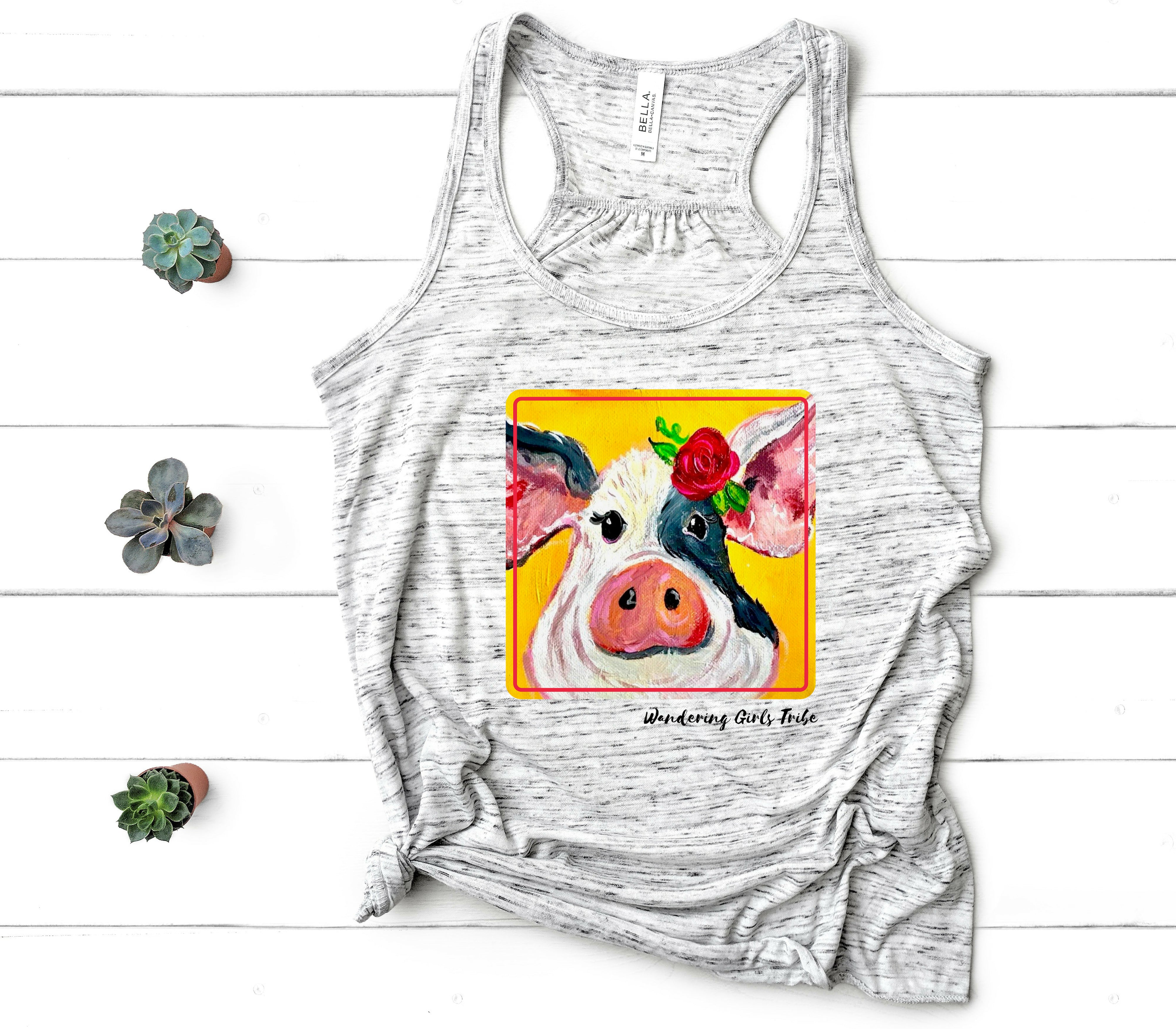 Sunny Side Pig Tank-Wholesale-Shop-Wholesale-Womens-Boutique-Custom-Graphic-Tees-Branding-Gifts