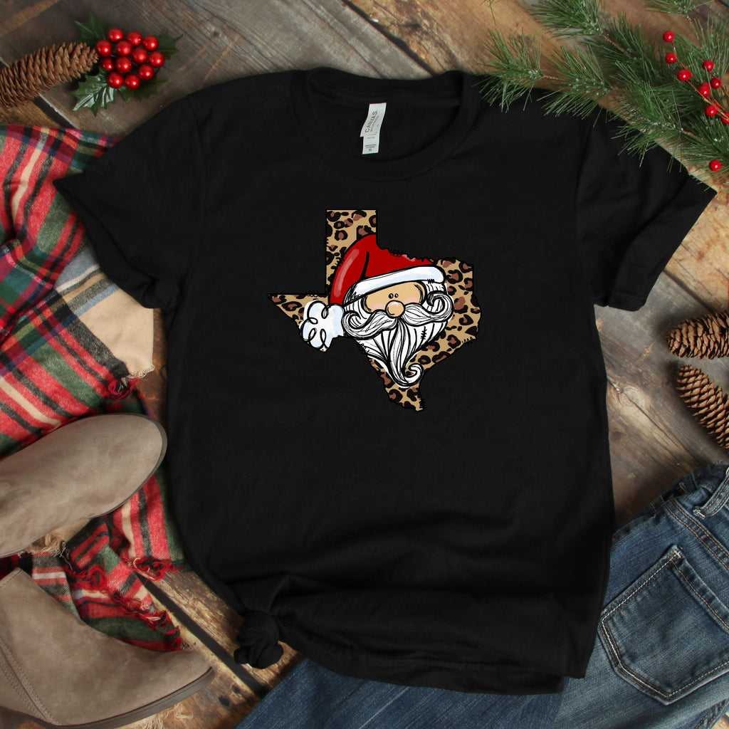 S - Texas Cheetah Santa - Black-1102-Shop-Wholesale-Womens-Boutique-Custom-Graphic-Tees-Branding-Gifts