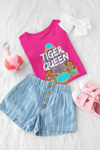 Tiger Queen T-Shirt Berry - Youth-exotic, kids, tiger-Shop-Wholesale-Womens-Boutique-Custom-Graphic-Tees-Branding-Gifts