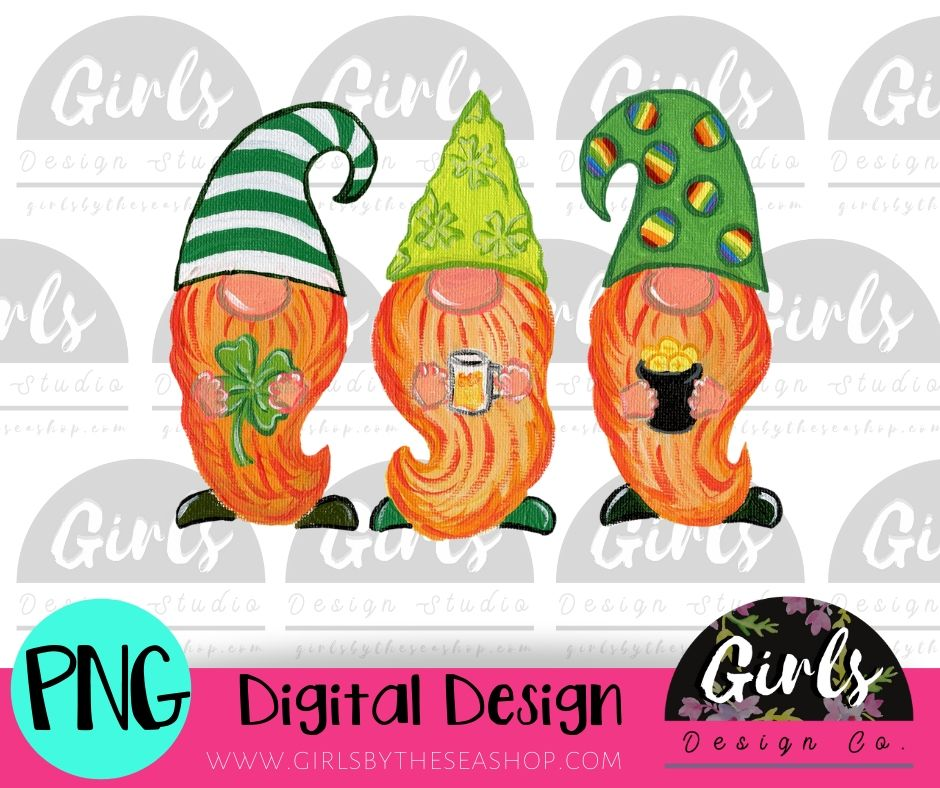St Patrick's Party Gnomes DIGITAL FILE-desser, Digital, Digital Design, Digital File, PNG, Sublimation, SVG, Transfer-Shop-Wholesale-Womens-Boutique-Custom-Graphic-Tees-Branding-Gifts