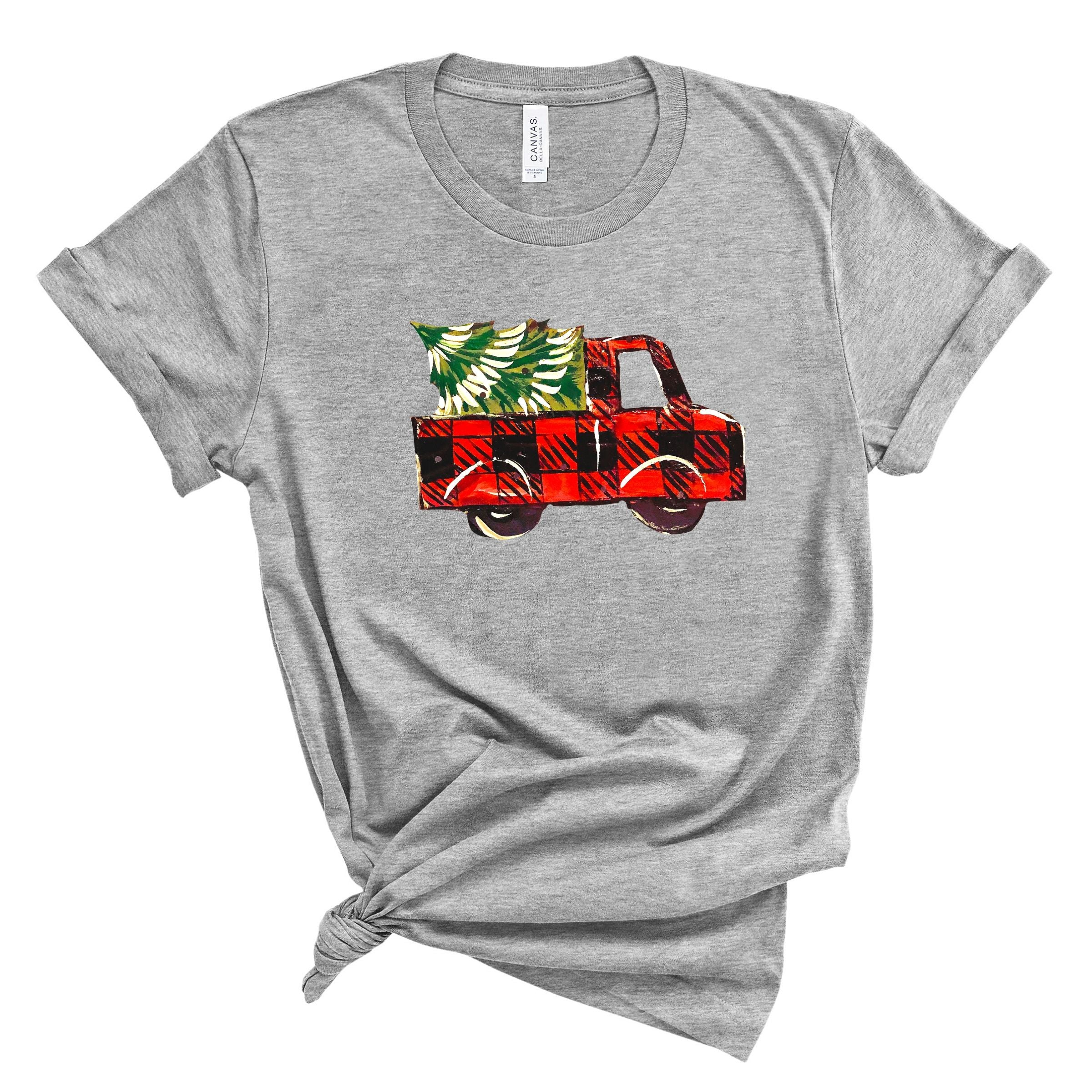 WHOLESALE :: Christmas Truck~ Athletic Grey-WXmas-Shop-Wholesale-Womens-Boutique-Custom-Graphic-Tees-Branding-Gifts