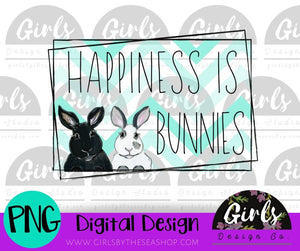 Happiness Is Bunnies DIGITAL FILE-desser, Digital, Digital Design, Digital File, PNG, Sublimation, SVG, Transfer-Shop-Wholesale-Womens-Boutique-Custom-Graphic-Tees-Branding-Gifts