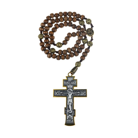 JOHN WICK Cross Russian Orthodox Roman Catholic Pendant Rosary Necklace Prop - cosplayboss