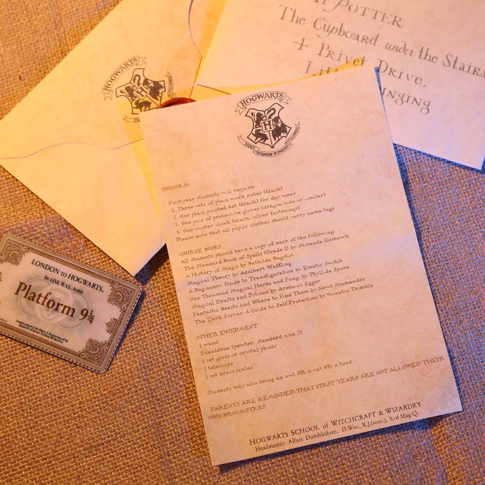 ... Harry Potter Hogwarts Acceptance Letter Package Five Pieces Suit Of Harry  Potter Cosplay Prop Collectible
