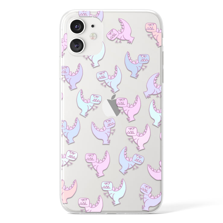 Grumpy Dinosaur Clear iPhone Case - Eclectic Soul London
