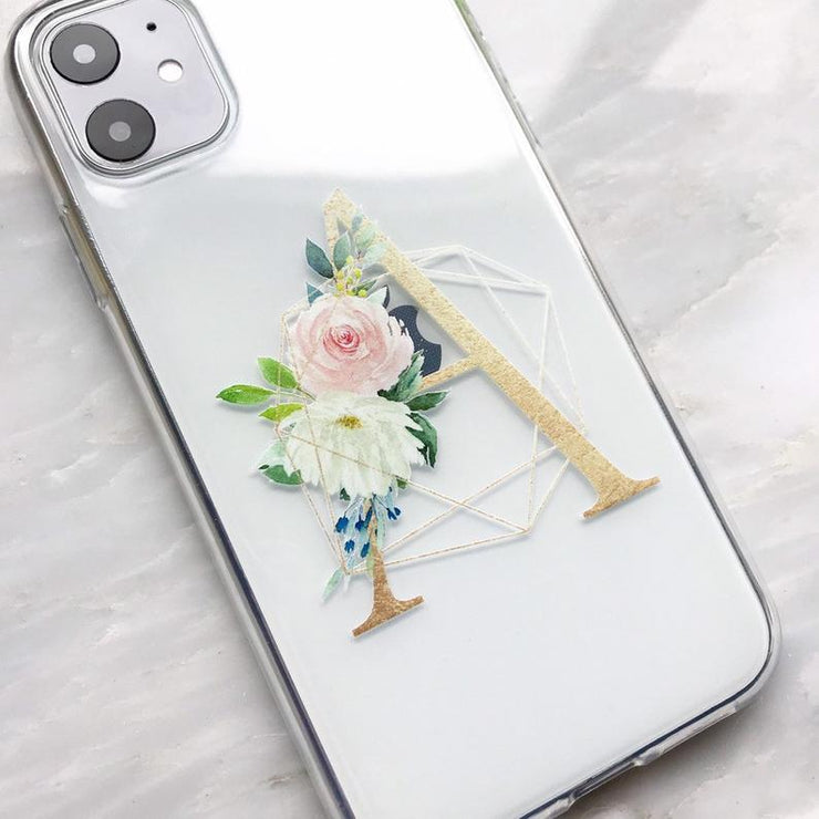 Floral Gold Initial Clear iPhone Case - Eclectic Soul London