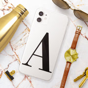 Black Initial Clear iPhone Case - Eclectic Soul London