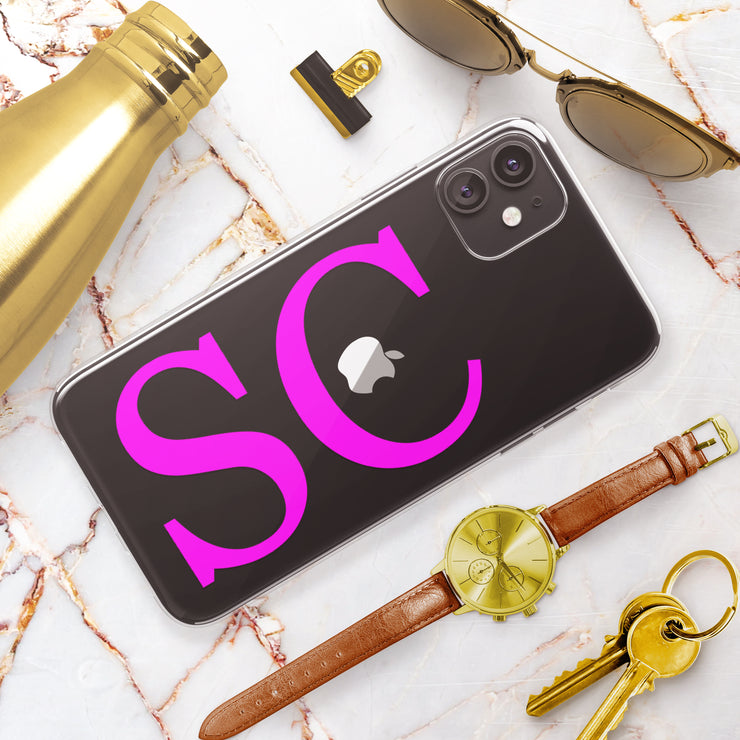 Hot Pink Initials Clear iPhone Case - Eclectic Soul London