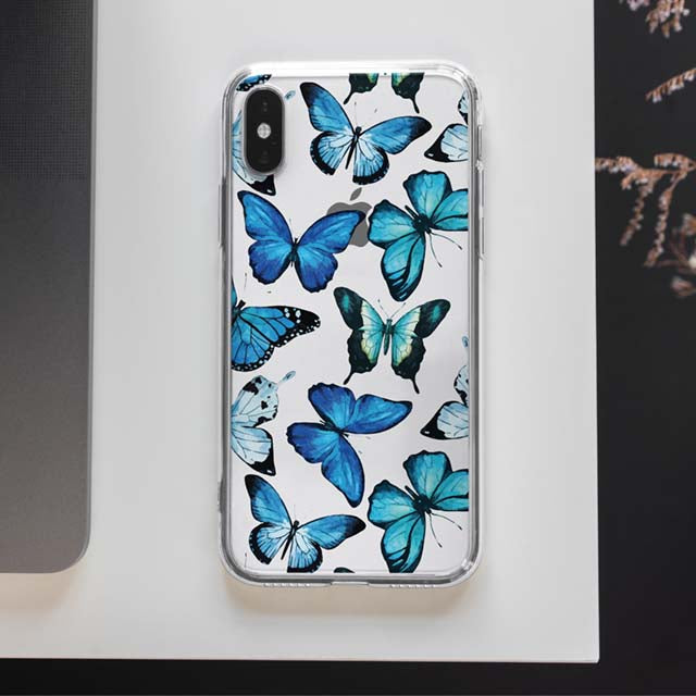 Clear Blue Butterfly Phone Case