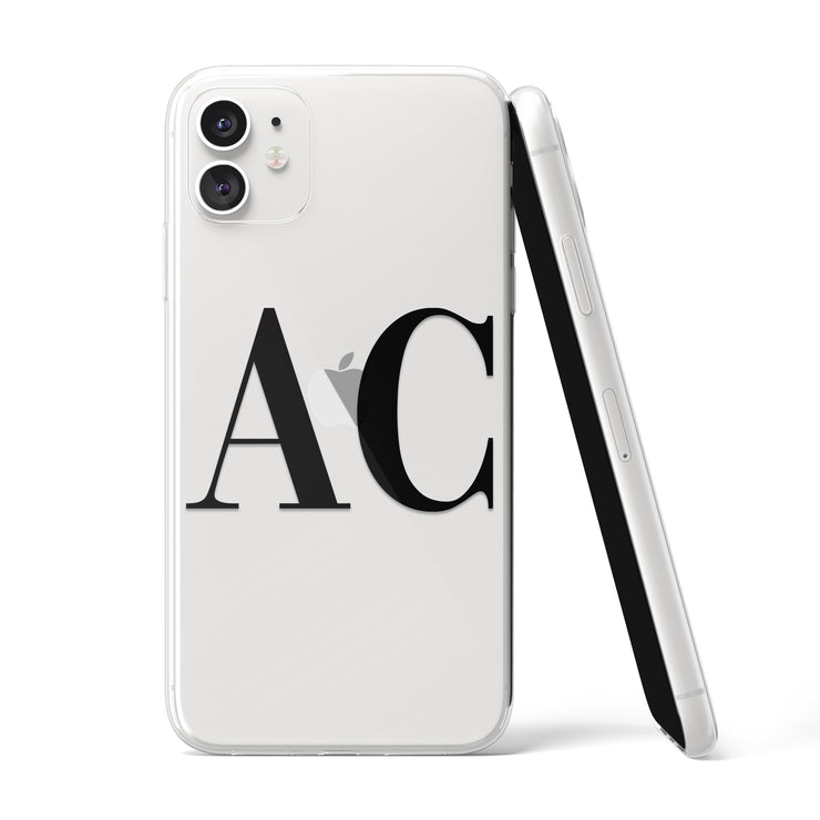 Black Initials Clear iPhone Case - Eclectic Soul London