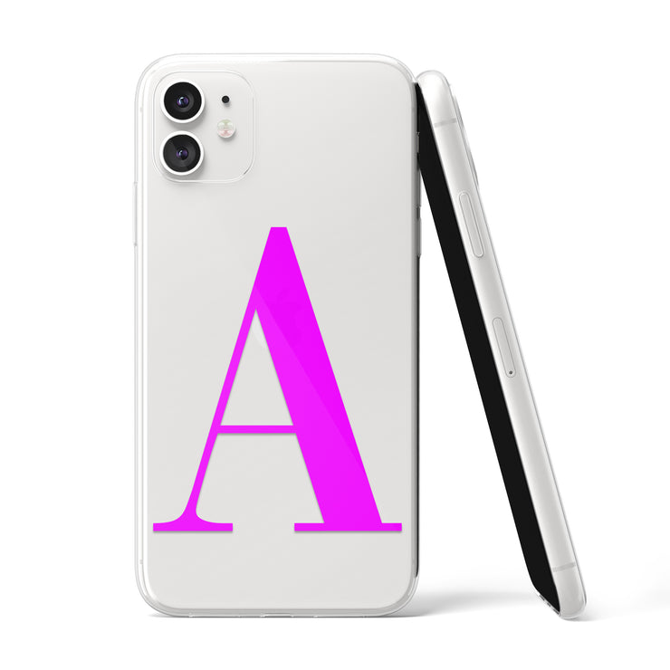 Hot Pink Initial Clear iPhone Case - Eclectic Soul London
