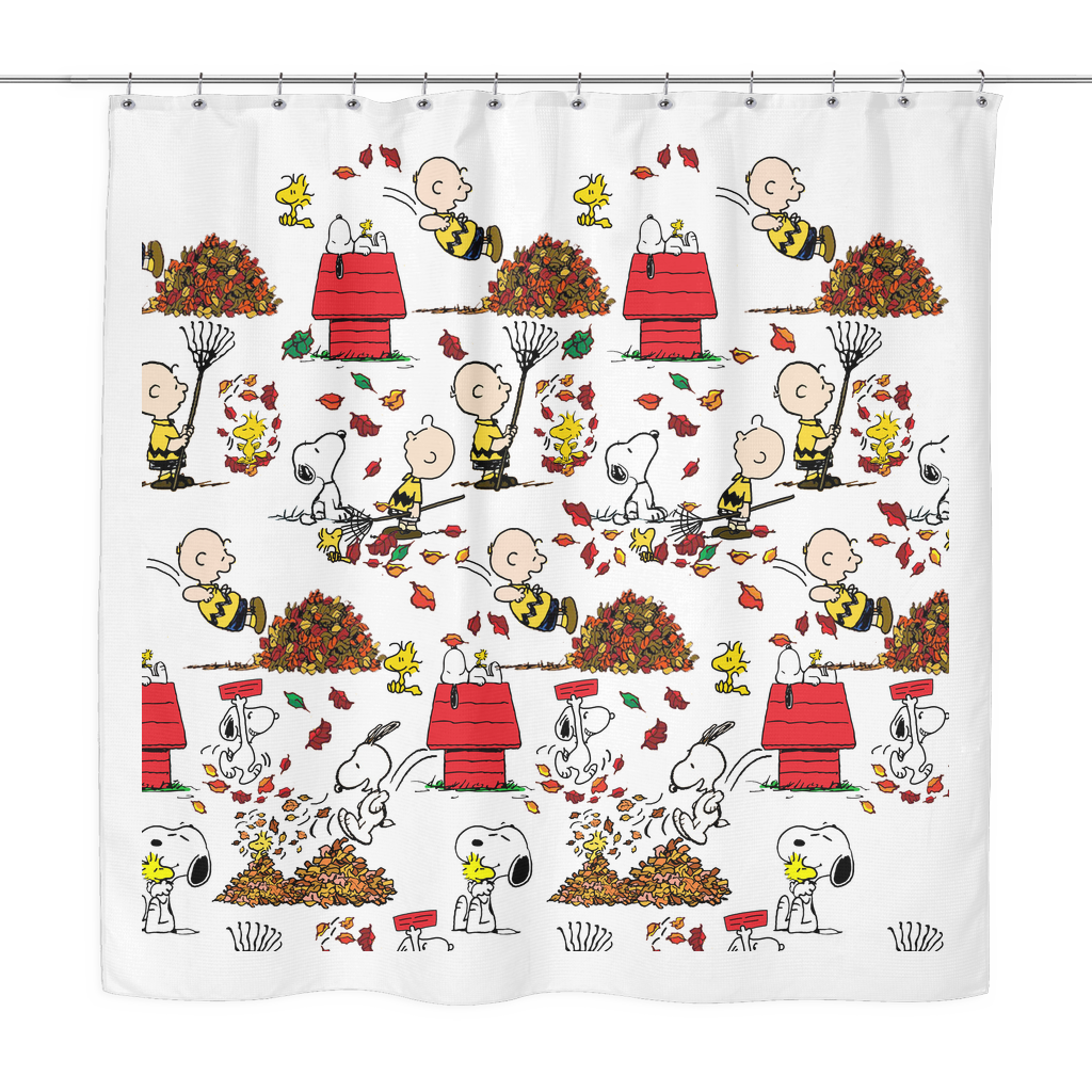 Snoopy Autumn Leaves Shower Curtain