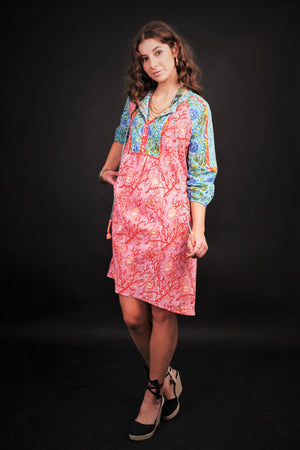 MEADOW FLORAL PATCHWORK DRESS