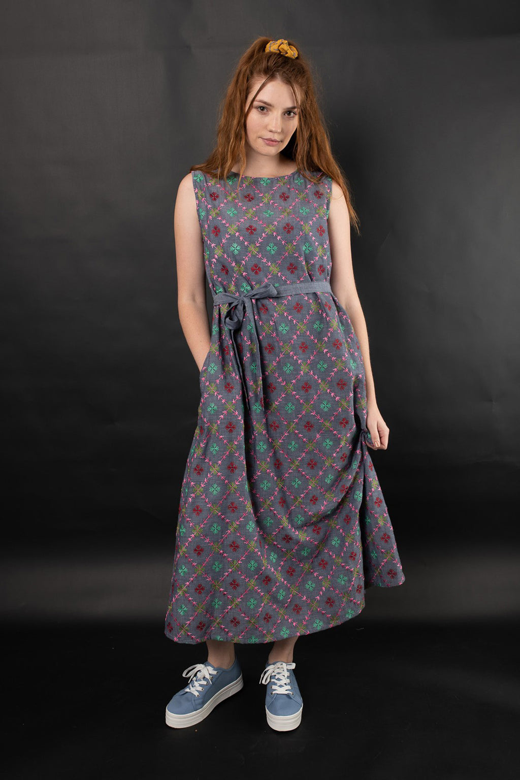 LIANA EMBROIDERED CHAMBRAY DRESS- MULTI EMB - zohaonline