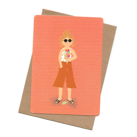 Ice Cream Girl Post Card