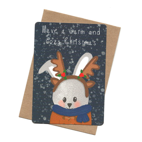 Rabbit Reindeer Post Card