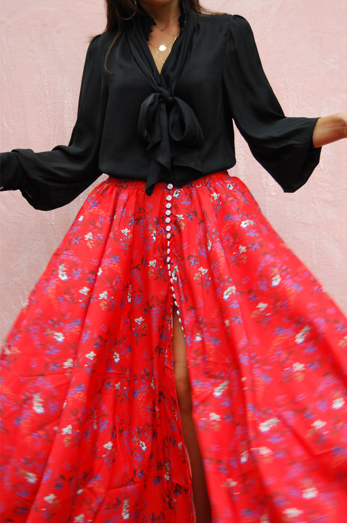 Matea Designs ALICE Red Floral Print Maxi Skirt - AfterPay & ZipPay Worldwide Shipping