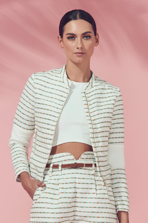 Matea Designs ABUDANTINA Ivory & Gold Cropped Jacket - AfterPay & ZipPay Worldwide Shipping