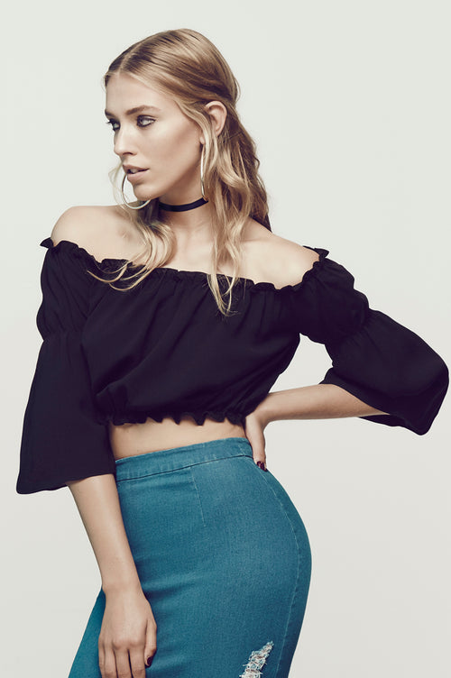 Matea Designs ALL IS IN JOY Black Ruched Crop Top [LAST couple in stock]