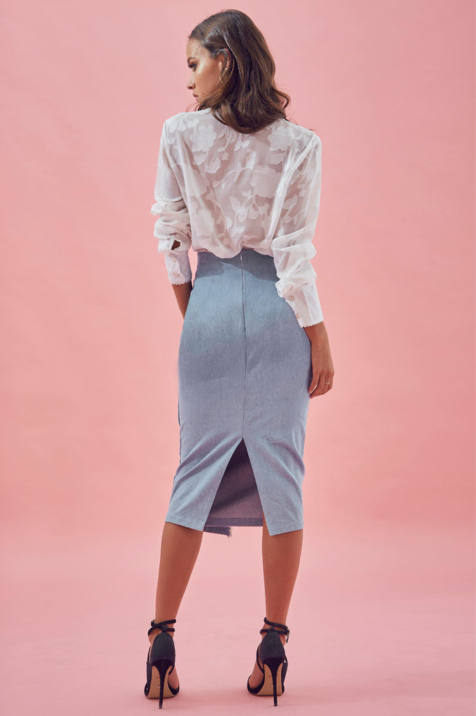 Matea Designs GEORGIE Denim Skirt- Pre-order delivery end Jan - AfterPay & ZipPay Worldwide Shipping