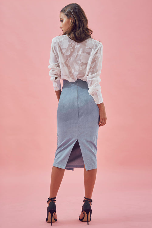 Matea Designs GEORGIE Denim Skirt- Pre-order delivery end March - AfterPay & ZipPay Worldwide Shipping