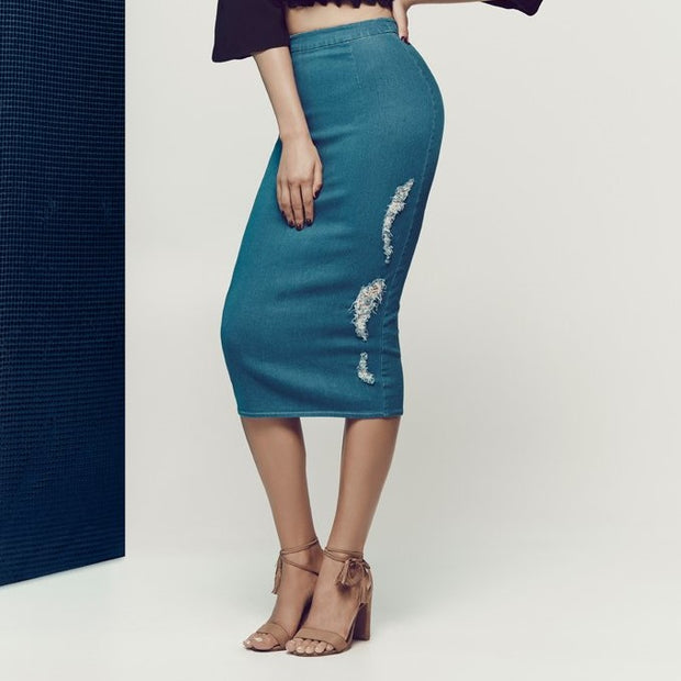 HAVE A VISION Blue Denim Pencil Skirt