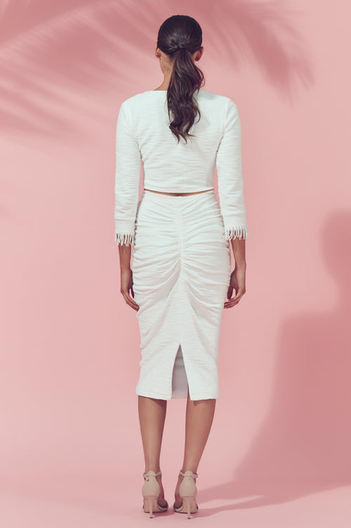 Matea Designs KALI White Midi Skirt
