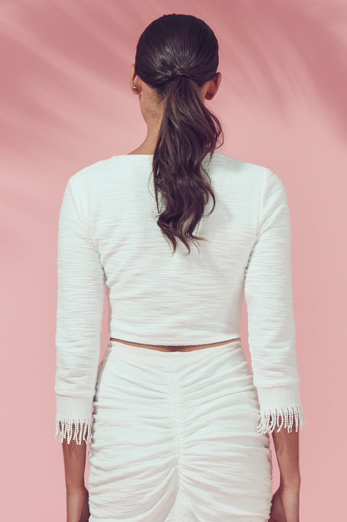 Matea Designs KALI White Long Sleeve Crop Top - AfterPay & ZipPay Worldwide Shipping