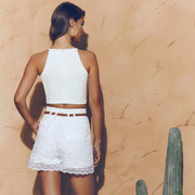 PELE White Lace Shorts