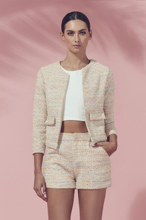 Matea Designs TARA Baby Pink & White Tweed Jacket - AfterPay & ZipPay Worldwide Shipping