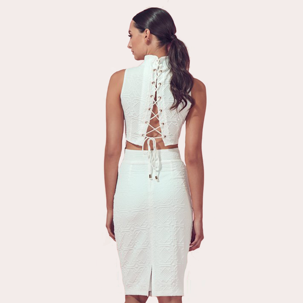 AERA White Embossed Pencil Skirt