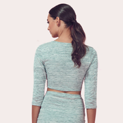 COVENTINA Grey Long Sleeve Crop Top