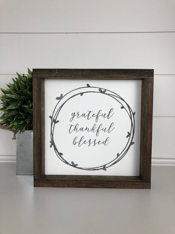 grateful, thankful, blessed sign | wood sign