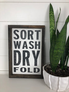 sort wash dry fold| wood signs | laundry room decor