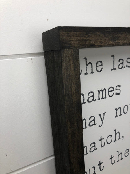 The last names may not match but the hearts certainly do | wood sign