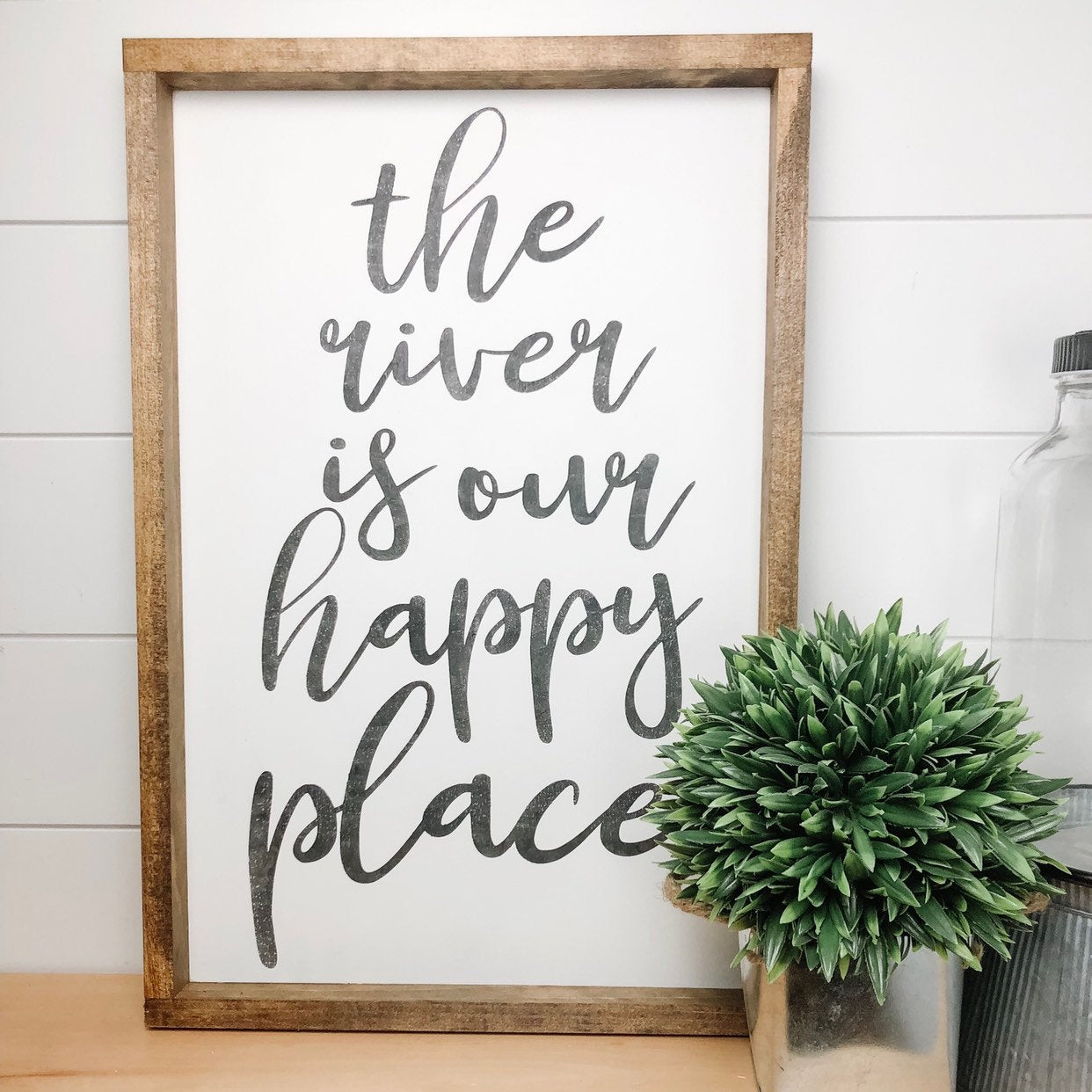 the river is our happy place | wood sign | cottage sign