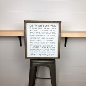 this is my wish for you | wood sign