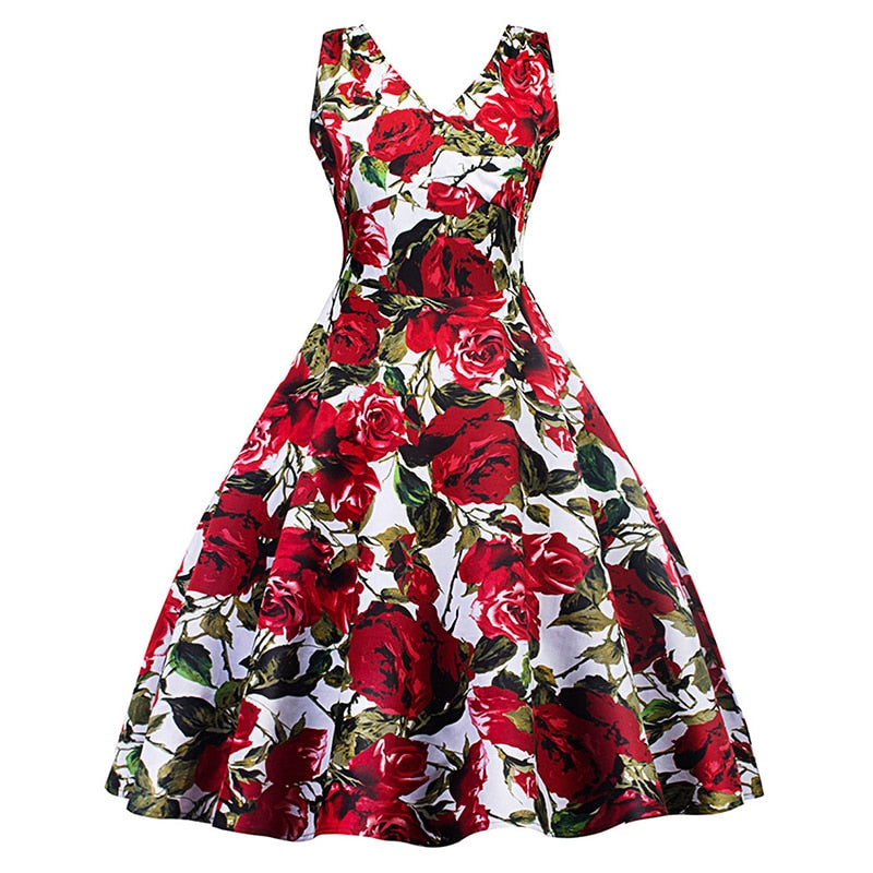 1c21987a521 Rotro Chic Red Roses printing dresses pin-up rockabilly