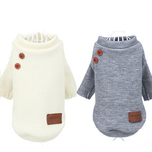 Grey or cream dog sweater with padded elbows