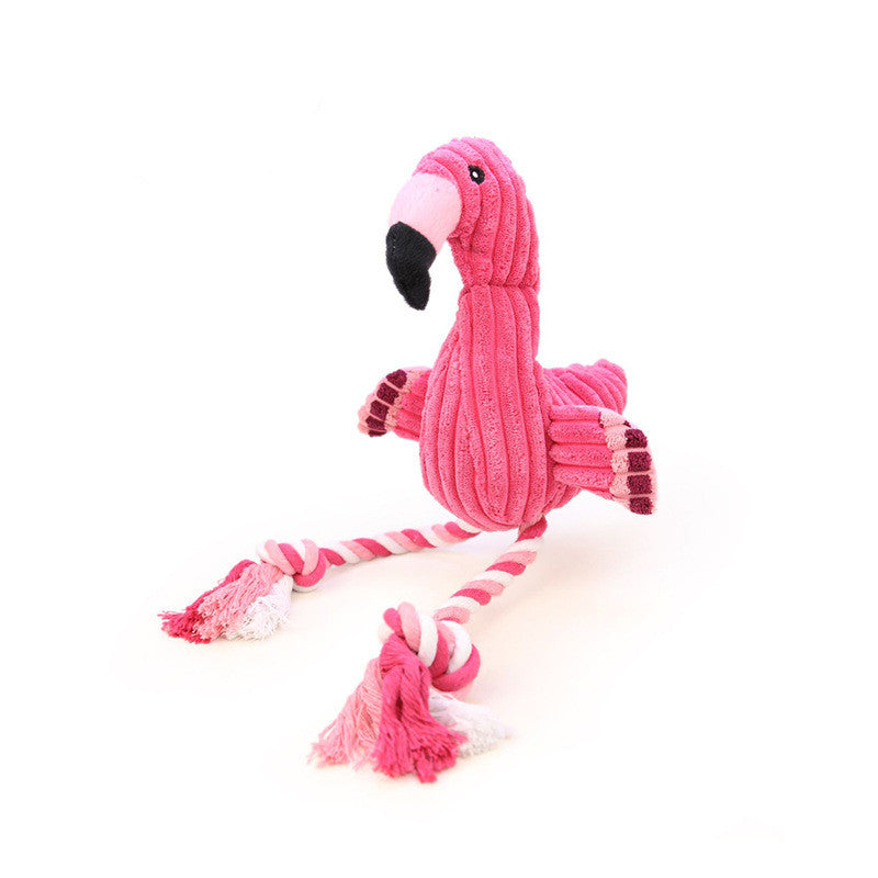 Pink flamingo dog toy