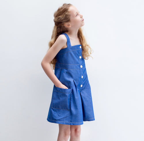 Light Denim Pinafore Culottes - Well Grounded Co