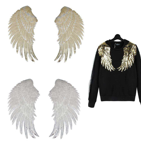 Beautiful Sequin Angel Wings Patch Appliques, Embroidered Patches,In God's Service Store