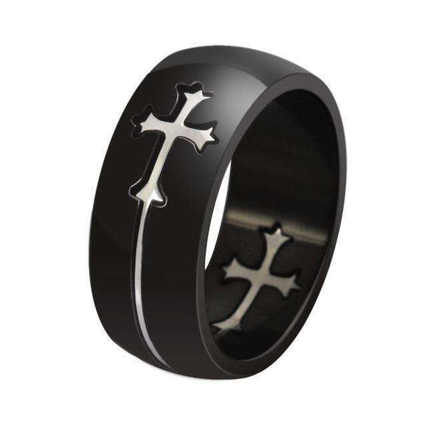 Black and Gold Cross Ring, Rings,In God's Service Store