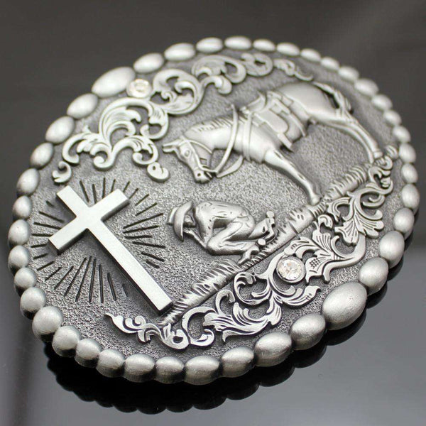 Cowboy Kneeling in Prayer Belt Buckle, Belt Buckles,In God's Service Store
