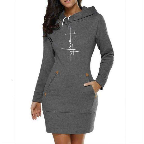 Faith Print Hooded Sweatshirt Design Dresses, Sweatshirt Design Dresses,In God's Service Store