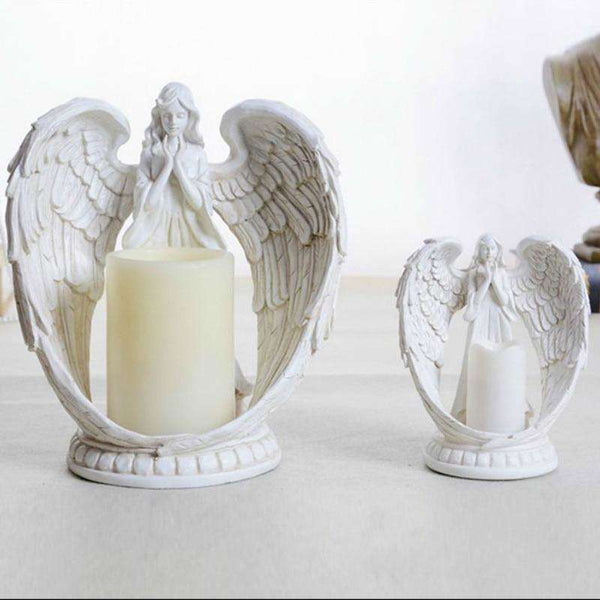 Flickering Flameless Angel Candles with Timer, Angel Candle Holder,In God's Service Store