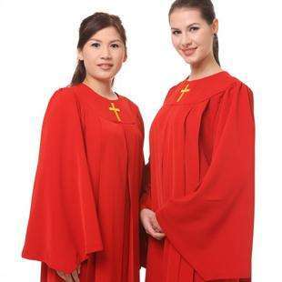 Gold Cross Choir Robes In Red, Church Choir Robes,In God's Service Store